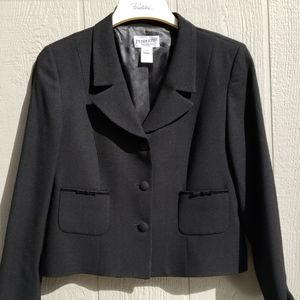 Pendleton Dress Crop Jacket 12P Wool Blk EUC